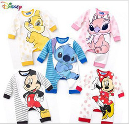Wholesale Stitch Romper - Wholesale-autumn 2015 new kids fashion Modeling romper(4pcs 1lot)girl\boy\baby mickey,stitch,bunny,minnie,angel 5design romper109-85