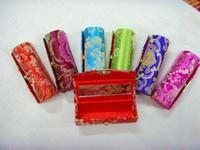Wholesale Cheap Green Lipstick - Empty Lip gloss Tubes Lip Balm Containers Cheap Silk Metal clasp Lipstick Cases 12pcs lot Free