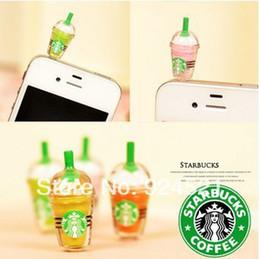 Wholesale Starbucks Phone Dust Plug - Wholesale-Starbucks Dust Plug for iphone and 3.5mm plug mobile phone mixed colors CYY079