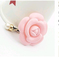 Wholesale Dust Plugs For I Phones - Wholesale-MINI ORDER USD10(mixed) Free shipping Factory Wholesales gold plated Resin flower Dust Plug Mobile phone straps for I PHONE