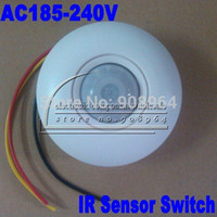 Wholesale Mount Motion Automatic Infrared Sensor - Wholesale-5pcs lot Ceiling Wall Mount IR Infrared Motion Sensor Automatic Light Lamp Switch AC185-240V