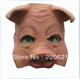 Wholesale Latex Rubber Costume - Wholesale-Pig Mask Party Mask Adjustable Suitable Adult Child Creepy Pig Half Mask Animal Halloween Costumes Latex Rubber free shipping