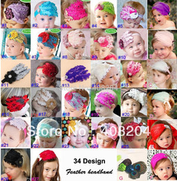 Fleurs De Plumes De Diamant Pas Cher-Wholesale-34 Design! PROMOTIONNEL! Baby Girl Hair Band Infant Toddler Feather Flower Diamond Headband Headband