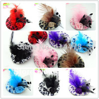 Wholesale Mini Top Hat Leopard - Wholesale-2015 New Cute Fashion Girls Feather Hair Clip,Kids Hair Accessories,Fascinators And Mini Top Hats With Clip Tiaras Leopard Hat