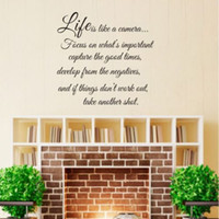 Wholesale Life is like a camera Vinyl Wall Sticker Quote Sayings Words Art Decal Decor