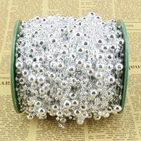 Wholesale Pearl Ornaments - Wholesale-60m roll silver pearl garlland 8+3mm plated pearl beaded garland wedding flower bouquet centerpiece decoration wire rope string