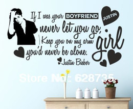 Wholesale Posters For Girls - Wholesale-Justin Bieber fashion wall stickers home decoration for girl wall quotes decorative stickers vinyl wall decals poster m2005