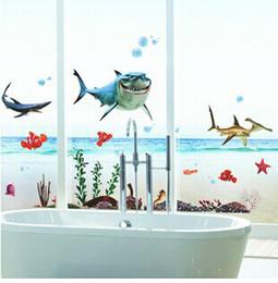 free shipping kidu0027s nemo shark sticker waterproof wallpaper for bathrooms shower glass door wall decal wall sticker