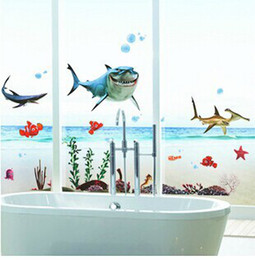 Wholesale Decals For Glass Doors - Wholesale-XY8078 Free shipping Kid's Nemo Shark Sticker Waterproof Wallpaper for Bathrooms Shower Glass Door Wall Decal wall sticker