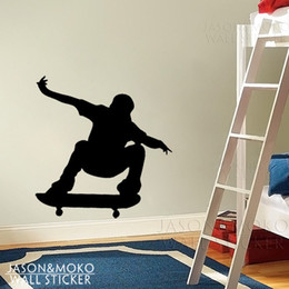 Wholesale Skateboard Room Decor Wall Stickers - Wholesale-FREE SHIPPING Vinyl wall sticker wall art mural skateboard boy Home Art Decor Decal for home 58*60CM Free shipping