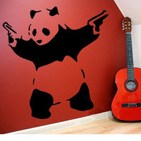 Wholesale Banksy Stickers - Wholesale-Banksy Panda Waving Hand Guns Vinyl Wall Sticker Wall Decal Poster Vintage Wall Mural Art Banksy Decal Wall Stickers Home Decor