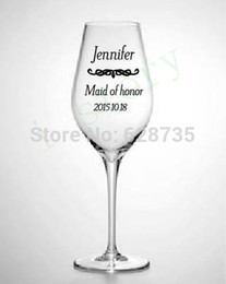 Wholesale-Wedding Decoration - DIY Wedding Bride and Bridesmaid Wine Glasses  Decal Stickers free shipping,MOQ $ 5