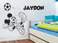 Wholesale Boys Name Wall Decals - Wholesale-Large Size MICKEY MOUSE with kids boy Personalised name vinyl wall art decal sticker ,Large size Free Shipping