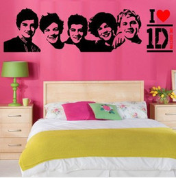 Wholesale Pictures Vinyl Stickers - Wholesale-Free shipping One Direction Sticker 1D Poster Bedroom Living Room Decoration Pictures Removable Wall Art