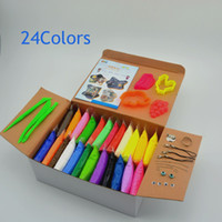 Wholesale Polymer Clay Sets - Wholesale-NEW 24colors Soft Polymer Modelling Clay set box with tools good package Special Toys DIY polymer clay Animal fruit moulages