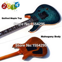 Wholesale Quilted Mahogany - Wholesale-High Quality Electric Guitar, Lake Placid Blue, Mahogany & Quilted Maple Top, Locking Tunner,Wooden Binding