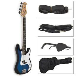 Wholesale Guitar Case Blue - Wholesale-Blue Electric Bass Guitar Includes Strap, Guitar Case, Amp Cord