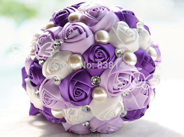 Wholesale 2015 Romantic Purple Rose Wedding Bouquets Ivory Pearl Bride Bouquet Bridal Ball Flower Idea Gift Funeral Flowers From Somnuns