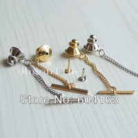 Wholesale Locking Pin Backs Wholesale - Wholesale-20 PCS Vintage Locking Tie Tac Tack Pin Guard Clutch Backs Chain Nickle Gold