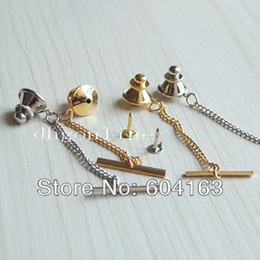 Tachuelas online-Al por mayor-20 PCS Vintage Locking Tie Tac Tack Pin Guard Clutch Espalda Cadena Nickle Gold
