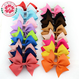 Wholesale Hot Bow - Wholesale-40 pcs 4'' Hot Sale Baby Girl Hair Bows Clips Boutique Hair Pin Grosgrain Ribbon Bows Hairpins Kids Girl Hair Accessories