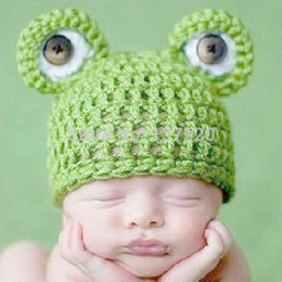 Accessoire De Grenouille Néonatale Pas Cher-Expédition Beanie gros-Lovely Frog Newborn Toddler Boy Baby Girl Hat photo Fotografia Photographie Props Crochet Knit main libre
