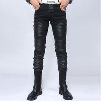 Wholesale Cheap Faux Pants - Wholesale-Autumn winter black Male personality patchwork faux leather pants tight-fitting slim men's clothing PU pants cheap male