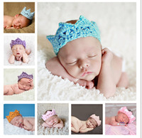 Wholesale Toddler Crochet Headband - Wholesale-newborn 100% handmade crochet outfits Toddler infant baby boy Girl princess crown headbands Beanie caps photography props hats
