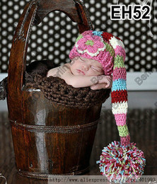 Wholesale Stocking Hats For Babies - Wholesale-Lovely Wholesale Handmade Baby Pixie Elf Hat in Multi Colors,Newborn Baby Girl Flower Stocking Caps perfect for photo props EH52