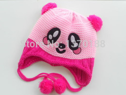 Wholesale Wool Hat Panda Ears - Wholesale-Infant Toddler Handmade Knitted Crochet Baby Hat Lovely Panda hat Cap with ear flap Animal Style For Girl Boy Gift