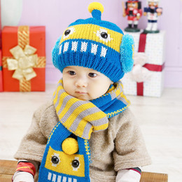 Wholesale Robot Scarf - Wholesale-Robot Label Winter Knitted Baby Hats & Scarf Sets Kids Bomber Caps & Shawl Child Warm Pocket Hats & MufflerFor Baby