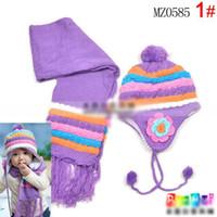 Wholesale Scarf Two Piece Set Pink - Wholesale-Children's winter hats Color plaid flower girls sets cap   Hat + scarf two piece sets kids accessories (4 color)