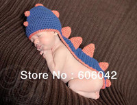 Wholesale Dinosaur Handmade Knit Crochet Baby - Wholesale-1pcs lot Handmade Knitted Crochet Baby Hat Baby Dinosaur Hat Crochet Newborn Dinosaur Hat and Tail