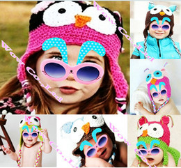 Wholesale Red Owl Baby Hat - Wholesale-New Infant Toddler Handmade Knitted Crochet Baby Hat cartoon Animal owl hat Cap with ear flap Protector For Girl Boy Gift