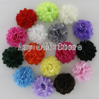 "Wholesale Silk Mesh Puff - Wholesale-Free Shipping!100pcs lot 2"" Mini Petite Satin Mesh Silk Flowers Charlotte Tulle Puff Flower Head Hydrangea Hair Accessories"