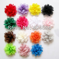 Atacado-NEW Christmas Flowers 15colors estoque 50pcs / lot Mini Chiffon Flores 2