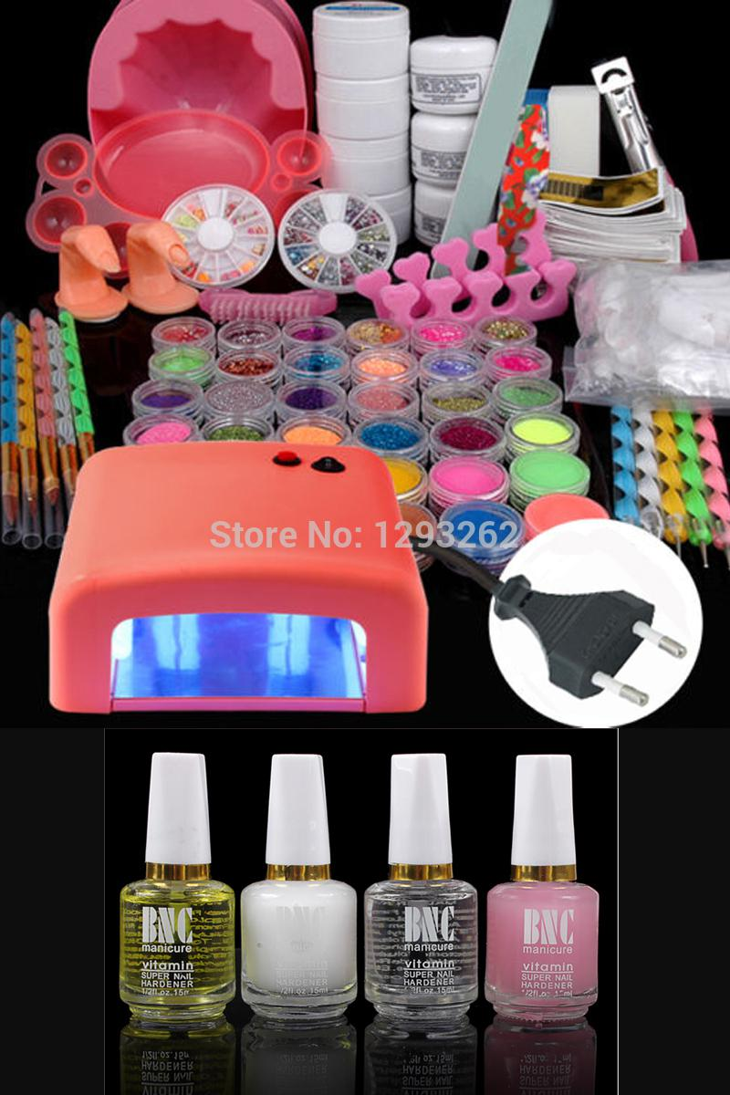 Al por mayor-Combine Gel Set 36W UV Lámpara Secador polaco Light + Acrylic Nail Art Kit Set # 1