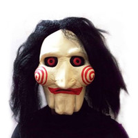 Wholesale Scary Saw Masks - Wholesale-Saw Movie Jigsaw Puppet Mask Halloween Full Mask Head Latex Creepy Scary