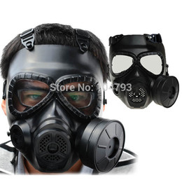 Wholesale Army Airsoft - Wholesale-1pc M04 Tactical Plastic Mask Resin Full Face Gas Masks With Fan CS Airsoft Mask Black Army Green 2 Color