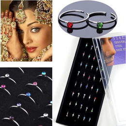 Wholesale Nose Rings Display - Wholesale-Wholesale 40pcs Body Jewelry Mix Lots Steel Rhinestone Nose ring nose Studs with display Free