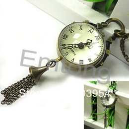 Wholesale Cheap Antique Clocks - Wholesale-Ball Pocket Watches roma clocks crystal free shipping cheap Antique Vintage bronze Pendant Quartz New Necklace 10pcs Chain WP053