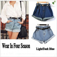 Wholesale Denim Roll High - Wholesale-XS-XL Freeshipping All Season Wear Big Denim Shorts Roll Up High Waist Shorts Super Loose Plus Large Plain Jean Shorts #2005
