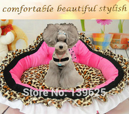Wholesale Leopard Dog Beds - Wholesale-Leopard print dog Bed pet Princess bed Puppy nest mat small dog kennel house cat bed
