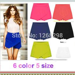 Wholesale Korean Fashion Pants Women - Wholesale-Hot Korean Fashion Tiered Asymmetric Wrap Shorts Skorts Skirts Mini Short Pants