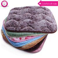 Wholesale iron fleece - Wholesale-High Quality Cotton Fleece Pet Blanket Colorful Print Dog Bed Mat Spring Autumn Soft Warm Large Dog House Pads S M L