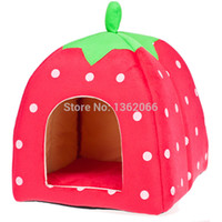 Wholesale strawberry cat beds resale online - Love Fashion Pet supplies pet kennel cat litter strawberries beds House Kennel Doggy Warm Cushion bed S M L