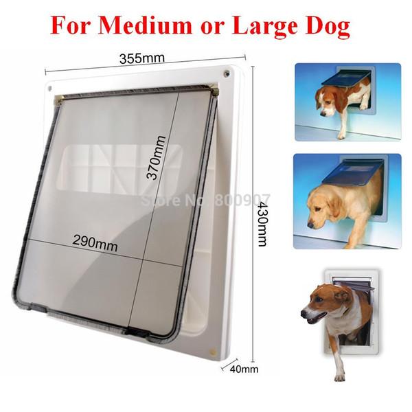 Großhandel-ABS-Kunststoff Weiß Sichere Haustiertür für große mittelgroße Hunde Frei In und Out Home Gate Tier Haustier Katze Hund Tür ASAF