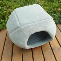Wholesale Dual Pet Beds - Wholesale-Cat Bed Dog Bed Dog House Pet House Sponge Coral Velvet Dual Kennel Free Shipping 1pcs lot