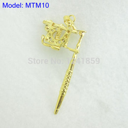 Wholesale Tattoo Guns Pendants - Wholesale-Golden Mini Toy Tattoo machine Gun As Pendant Ornament Necklace Supply MTM10#