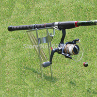 Wholesale Automatic Pole Holder - Wholesale-Fishing Rod Pole Stand Holder Bracket Practical Silver Steel Fishing Tool Double Spring Automatic Adjustable Free Shipping